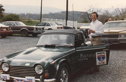 Photo of Charles Runyan at the start of the One Lap of America Road Rallye
