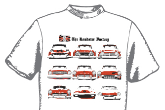 Graphic of white t-shirt with red cars in snow