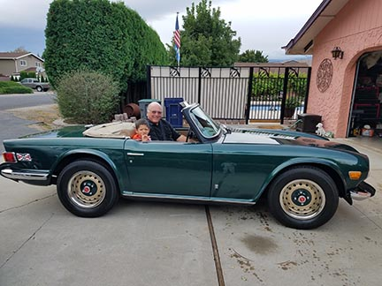 Photo of Rex Bratton and his Grandson Heading Off to the British Car Show in Wenatchee, Washington